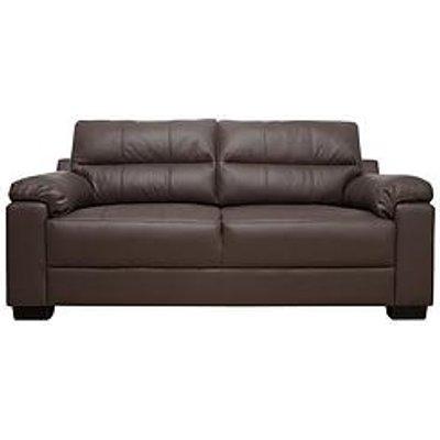 Saskia Leather/Real Leather 3 Seater Compact Sofa