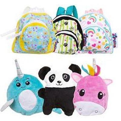 Zipstas Zipstas Babies 2-In-1 Mini Reversible Girls Backpack To Soft Toy - Triple Pack