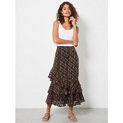 Mint Velvet Demi Floral Print Midi Skirt