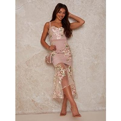 Chi Chi London Peplum Floral Embroidered Lace Bodycon Dress - Pink
