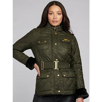Barbour International Modern Polarquilt Faux Fur Cuff Belted Jacket - Green