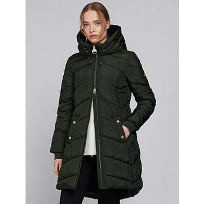 Barbour International Barbour International Braeside Faux Fur Lined Hood Quilted Coat - Green
