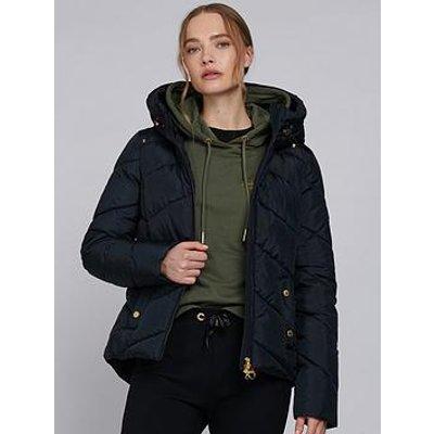 Barbour International Motegi Faux Fur Lined Hood Quilted Jacket - Black