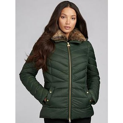 Barbour International Barbour International Simoncelli Detachable Faux Fur Collar Fitted Quilted Jacket - Green