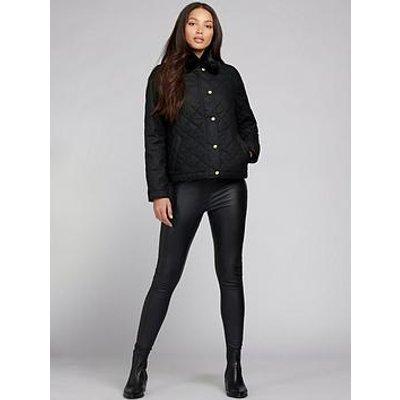 Barbour International Barbour International Galvez Detachable Faux Fur Collar Wax Jacket - Black