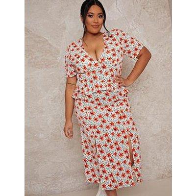 Chi Chi London Curve Chi Chi Curve Short Sleeve Floral Print Midi Dress - Multi