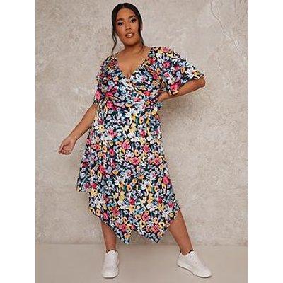 Chi Chi London Curve Short Sleeve Floral Print Midi Dress - Multi