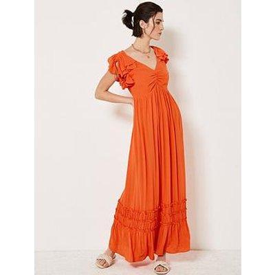 Mint Velvet Mint Velvet Orange Ruffled Maxi Sun Dress