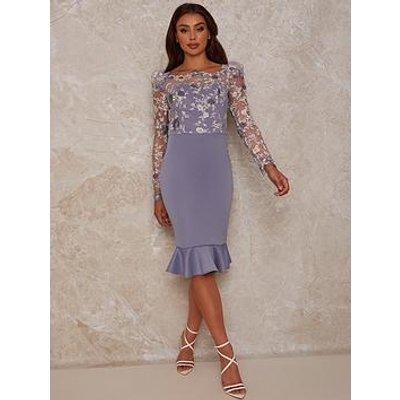 Chi Chi London Peplum Embroidered Lace Bodycon Dress - Blue