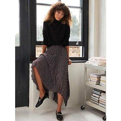 Mint Velvet Nat Print Pleated Midi Skirt