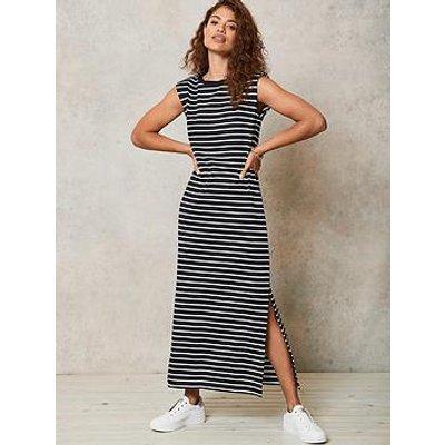 Mint Velvet Black Stripe Jersey Midi Dress