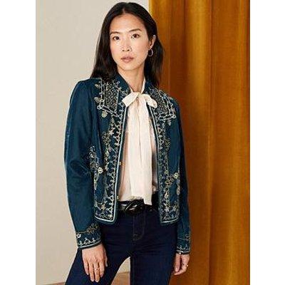 Monsoon Embroidered Velvet Teal Jacket