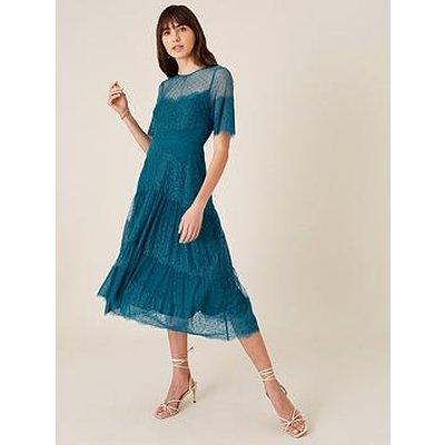 Monsoon Millie Spot Lace Mesh Dress