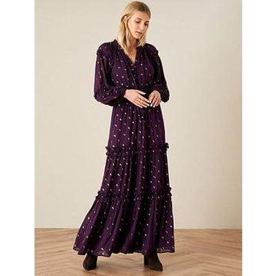 Monsoon Adena Purple Lurex Maxi Dress