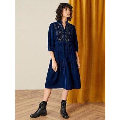 Monsoon Monsoon Embroidered Velvet Military Short Dress
