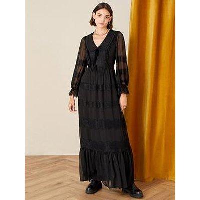 Monsoon Lace Collared Black Maxi Dress