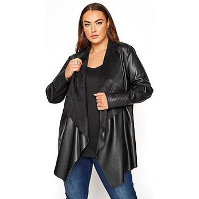 Yours Yours Waterfall Pu Mixed Fabric Jacket - Black