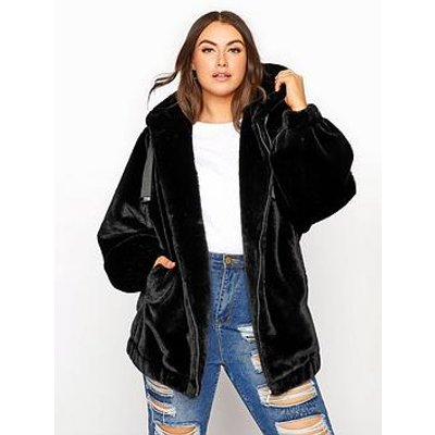 Yours Yours Oversize Balloon Sleeve Faux Fur Jacket - Black