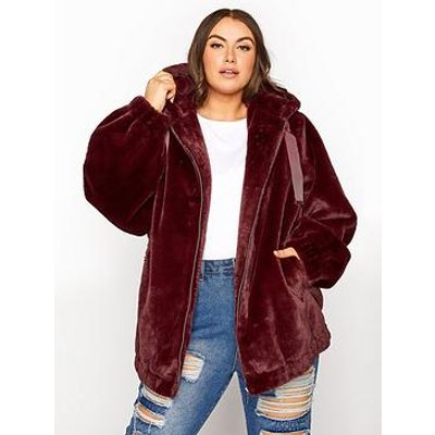 Yours Yours Oversized Balloon Sleeve Faux Fur Jacket - Wine