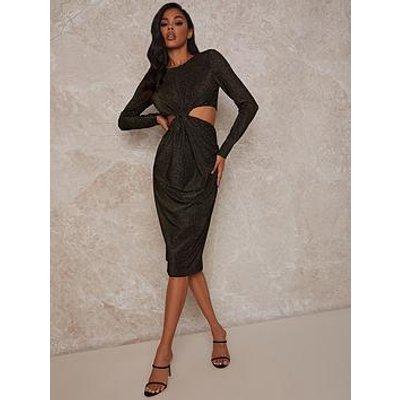 Chi Chi London Long Sleeve Cut Out Party Midi Dress - Black