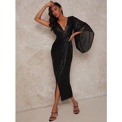 Chi Chi London Plunge Sequin Wrap Midi Dress - Black