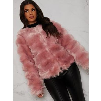 Chi Chi London Textured Faux Fur Coat - Pink