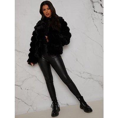 Chi Chi London Textured Faux Fur Coat - Black