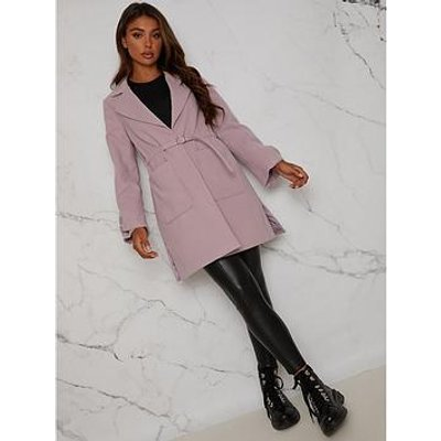 Chi Chi London Structured Coat With Bow Sleeves And Belt Detail - Lilac