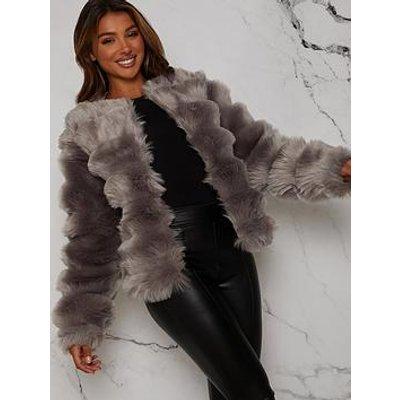 Chi Chi London Textured Faux Fur Coat - Grey