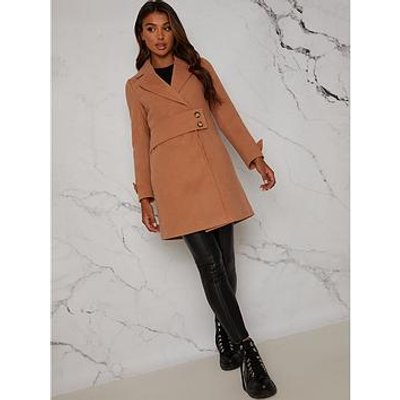 Chi Chi London Structured Coat With Button Up Waist Panel - Tan