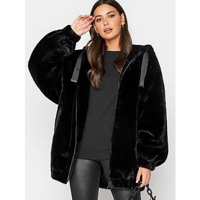 Long Tall Sally Long Tall Sally Oversized Balloon Sleeve Fur Jacket Black