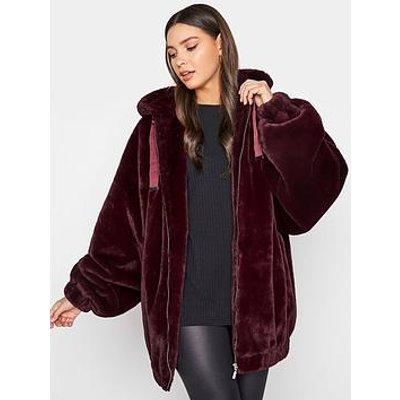 Long Tall Sally Long Tall Sally Oversized Balloon Sleeve Fur Jacket Pink
