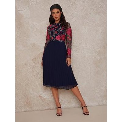 Chi Chi London Chi Chi Long Sleeve Floral Embroidered Midi Dress In Navy