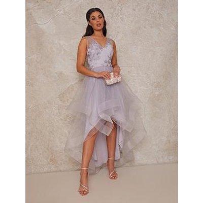 Chi Chi London Embroidered V Neck Mesh Skirt Dip Hem Midi Dress - Lilac