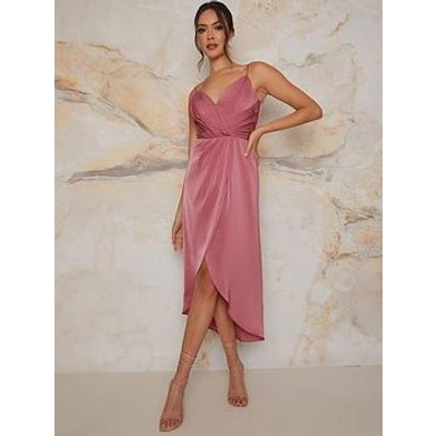 Chi Chi London Chi Chi Cami Pleated Wrap Style Midi Dress In Pink