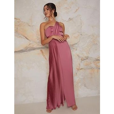 Chi Chi London Chi Chi Pleated Satin One Shoulder Maxi Dress In Pink