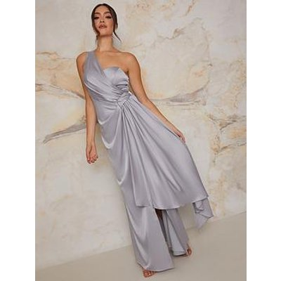 Chi Chi London One Shoulder Satin Finish Maxi Bridesmaids Dress - Blue