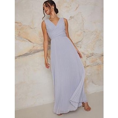 Chi Chi London Chi Chi V Neck Pleated Maxi Dress In Blue