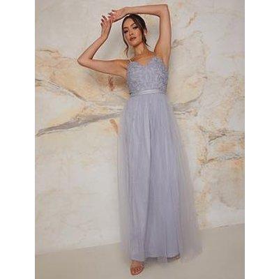 Chi Chi London Cami Strap Embroidered Maxi Dress - Blue