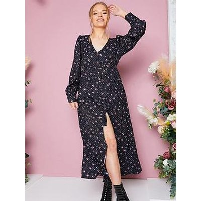 In The Style In The Style Stacey Solomon Black Disty Floral Print Longline Tunic Blouse