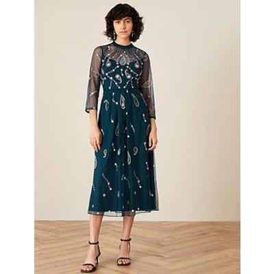 Monsoon Monsoon Cleo Sustainable Paisley Emb Midi Dress