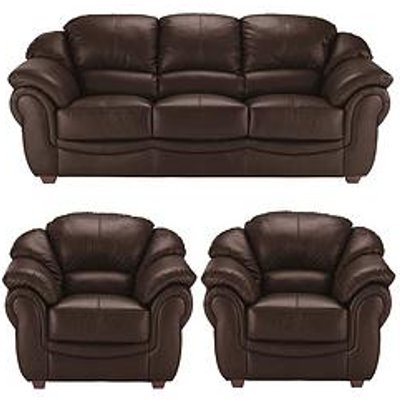 Napoli Leather 3 Seater Sofa + 2 Armchairs Set (Buy And Save!)