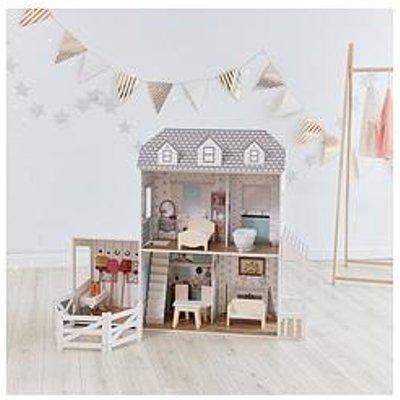 "Teamson Kids Olivia'S Little World - Dreamland Farm House 12"" Doll House - White / Grey"