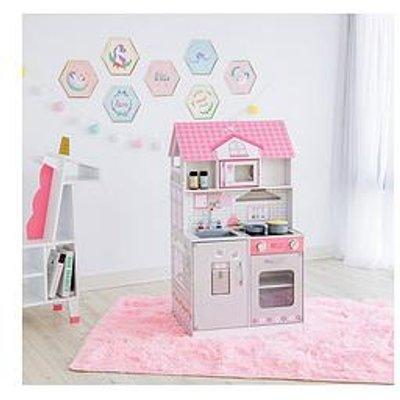 Teamson Kids Olivia'S Little World - Wonderland Ariel 2 In 1 Doll House & Play Kitchen - Pink / Grey