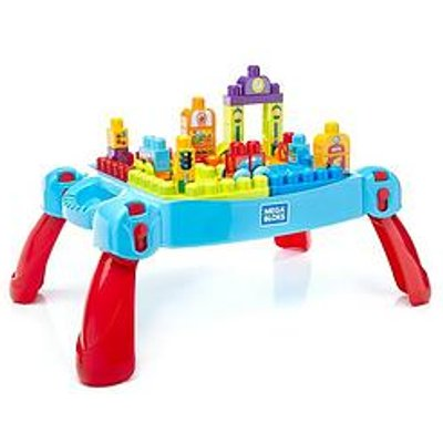 Mega Bloks First Builders Blue Build 'N Learn Table And Construction Bricks