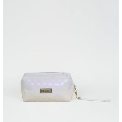 Pink Vanilla White Iridescent Make-Up Bag New Look