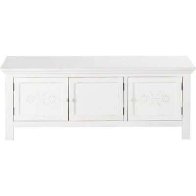 3-Door TV Unit with Aged Effect White Raised Print