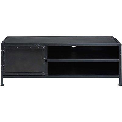 Industrial black metal 1-door TV unit