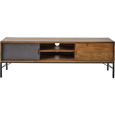 Mango Wood and Black Metal TV Unit
