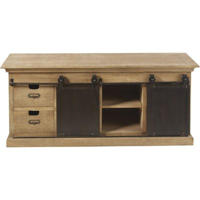 Solid Mango Wood 2-Door 4-Drawer TV Unit
